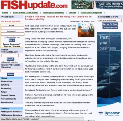 GAP2's Norway exchange on FishUpdate.com © FishUpdate.com