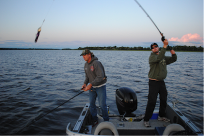 Our fishing guide John Anderson, trying to avoid getting caught by Olof